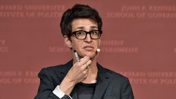 "Rachel Maddow speaks at the Harvard University John F. Kennedy Jr. Forum in a program titled ""Perspectives on National Security"" moderated by Rachel Maddow on October 16, 2017 in Cambridge, Massachusetts. (Photo by"