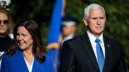 WASHINGTON, DC - SEPTEMBER 20: U.S. Second Lady Karen Pence and Vice President Mike Pence attend an official visit ceremony welcoming Australian Prime Minister Scott Morrison and Australian first lady Jennifer Morrison at the South Lawn at the White House September 20, 2019 in Washington, DC. Prime Minister Morrison will participate in an Oval Office meeting, a joint news conference, and a state dinner during his state visit in Washington. (Photo by