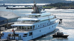 David Geffen's yacht Rising Sun came into Portland on Tuesday morning, September 24, 2013. (Photo by