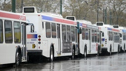 SEPTA (Southeastern Pennsylvania Transit Authority) buses at Frankford terminal remain idle as Hurricane Sandy approaches October 29, 2012 in Philadelphia, Pennsylvania.