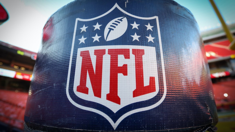 A view of the NFL logo before the AFC Championship game between the Tennessee Titans and Kansas City Chiefs on January 19, 2020 at Arrowhead Stadium in Kansas City, MO.