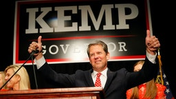 Republican gubernatorial candidate Brian Kemp attends the Election Night event at the Classic Center on November 6, 2018 in Athens, Georgia.