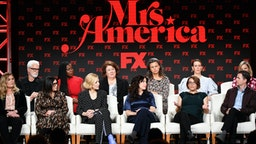 Coco Francini, John Slattery, Stacey Sher, Uzo Aduba, Cate Blanchett, Margo Martindale, Dahvi Waller, Tracey Ullman, Anna Boden, Sarah Paulson, Ryan Fleck, and Elizabeth Banks of 'Mrs. America' speak during the FX segment of the 2020 Winter TCA Tour at The Langham Huntington, Pasadena on January 09, 2020 in Pasadena, California.