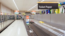 MARCH 4, 2020: Empty shelves in an Australian supermarket after panic buying due to the Corona Virus.