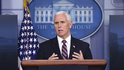 U.S. Vice President Mike Pence speaks during a Coronavirus Task Force news conference at the White House in Washington, D.C., U.S., on Thursday, April 2, 2020.