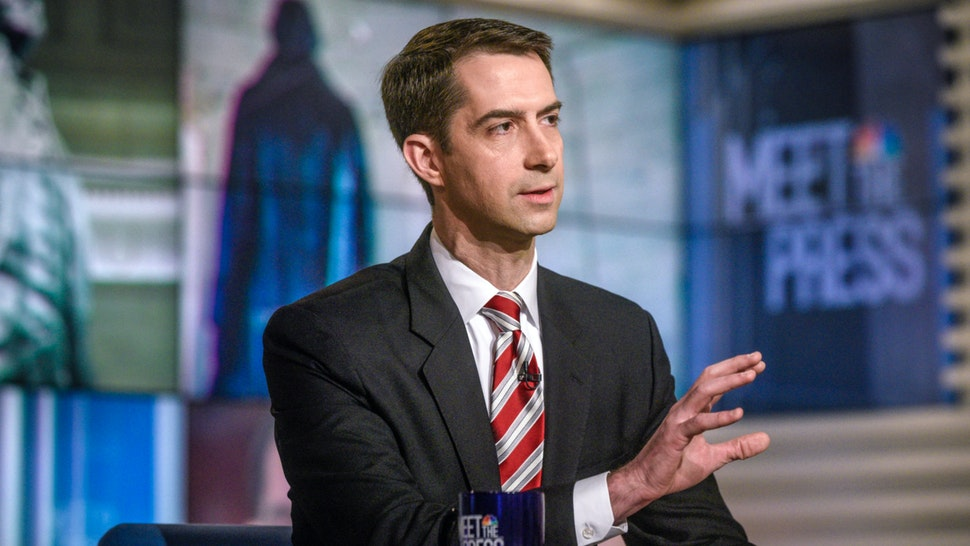 """Pictured: (l-r) Sen. Tom Cotton (R-AR) appears on """"Meet the Press"""" in Washington, D.C., Sunday, Jan. 21, 2018."""