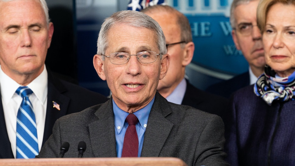 Dr. Anthony Fauci, Director of the National Institute of Allergy and Infectious Diseases, speaks at the Coronavirus Task Force Press Conference.