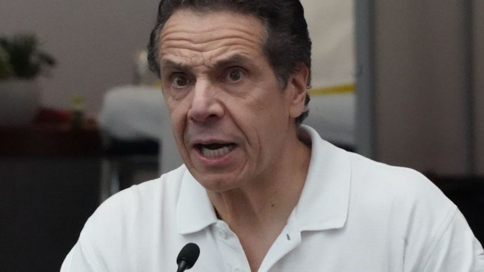 New York Governor Andrew Cuomo speaks to the press at the Jacob K. Javits Convention Center in New York, on March 27, 2020. - The New York National Guard, the US Army Corps of Engineers, and Javits employees are constructing a 1,000-bed facility at the center, as the state tries to contain the rising coronavirus cases.