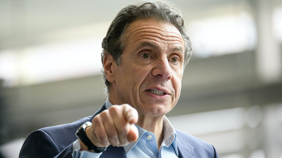 NEW YORK, NY, UNITED STATES - 2020/03/30: Following the arrival in New York City of the U.S. Naval hospital ship Comfort, NY State Governor Andrew Cuomo is seen during a press conference at the field hospital site at the Javits Center.