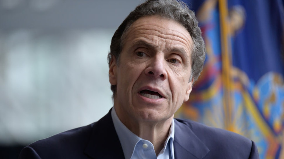 Following the arrival in New York City of the U.S. Naval hospital ship Comfort, NY State Governor Andrew Cuomo is seen during a press conference at the field hospital site at the Javits Center. (Photo by Albin Lohr-Jones/Pacific Press/LightRocket via Getty Images)