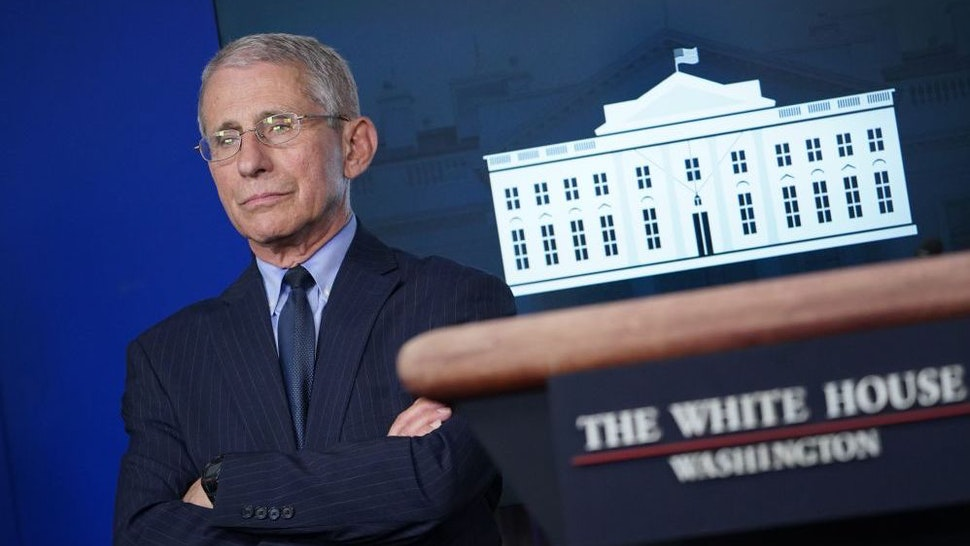 Director of the National Institute of Allergy and Infectious Diseases Anthony Fauci looks on during the daily briefing on the novel coronavirus, COVID-19, in the Brady Briefing Room at the White House on April 1, 2020, in Washington, DC. (Photo by Mandel NGAN / AFP)