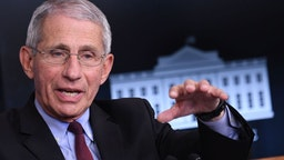 Director of the National Institute of Allergy and Infectious Diseases Anthony Fauci speaks during an unscheduled briefing after a Coronavirus Task Force meeting at the White House on April 5, 2020, in Washington, DC. (Photo by Eric BARADAT / AFP)