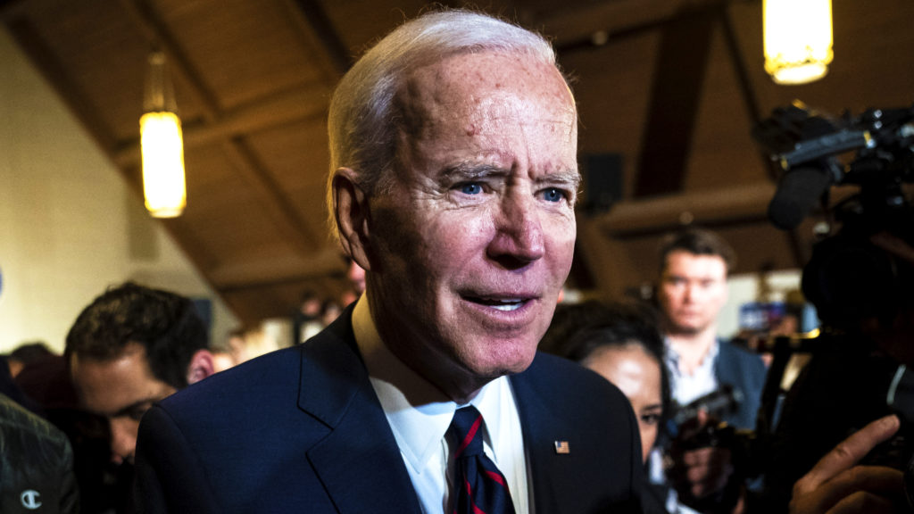 INDIANOLA, IA - JANUARY 18 : Democratic presidential candidate and former Vice President Joe Biden greets supporters after speaking at a campaign stop at Simpson College on Saturday, Jan 18, 2020 in Indianola, IA.