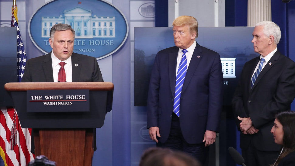 Bill Bryan, senior official performing the duties of the under secretary for Science and Technology at Homeland Security, left, speaks as U.S. President Donald Trump, center, and Vice President Mike Pence listen during a news conference in the White House in Washington, D.C., U.S., on Thursday, April 23, 2020. Trumps handling of the coronavirus pandemic and the economic collapse has shaken voters confidence in him, with the percentage of undecided voters more than doubling in the last two weeks.