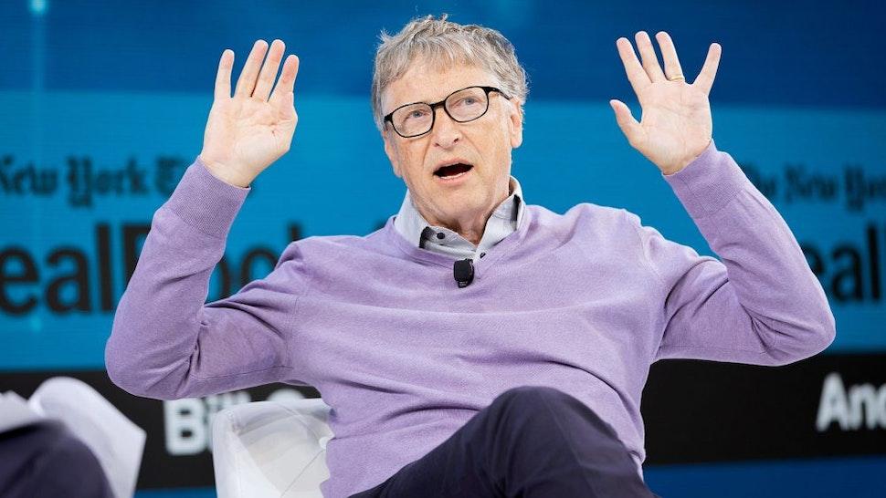 NEW YORK, NEW YORK - NOVEMBER 06: Bill Gates, Co-Chair, Bill & Melinda Gates Foundation speaks onstage at 2019 New York Times Dealbook on November 06, 2019 in New York City.