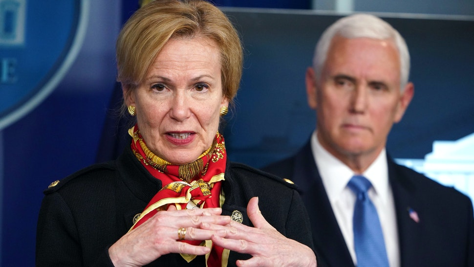 Response coordinator for White House Coronavirus Task Force Deborah Birx (L) speaks as US Vice President Mike Pence listens during the daily briefing on the novel coronavirus, COVID-19, in the Brady Briefing Room at the White House on March 31, 2020, in Washington, DC.