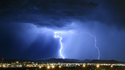 Lightning strikes during a thunderstorm on July 6, 2015 in Las Vegas, Nevada.