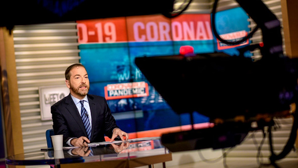 """MEET THE PRESS -- Pictured: (l-r) -- Moderator Chuck Todd appears on Meet the Press"""" in Washington, D.C., Sunday, March 15, 2020."""