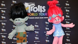 "The Trolls figures Branch (l) and Poppy at the photo session for the movie ""Trolls World Tour"" at the Hotel Waldorf Astoria."