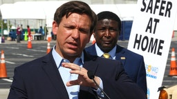MIAMI GARDENS, FLORIDA - MARCH 30: Florida Gov. Ron DeSantis speaks during a news conference in the Hard Rock Stadium parking lot on March 30, 2020 in Miami Gardens, Florida. The news conference, held at a COVID-19 testing center with the mayors from Miami-Dade, Broward, Palm Beach and Monroe counties, was used to explain efforts being taken to combat the outbreak in their communities.