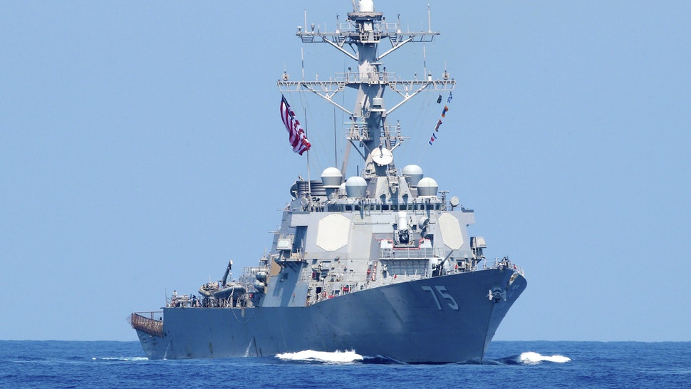 "A photo taken on August 7, 2019, shows the US Navy USS Donald Cook class guided missile destroyer during an exercise how simulate a humanitarian response to a powerful earthquake and significant movement of IDF vessels and foreign vessels in the Mediterranean sea. - Sailors from France, Greece and the United States arrived on their vessels and were joined by the Israelis off the Israeli port city of Haifa for a four-day exercise, called ""Mighty Waves"". It simulated extracting wounded civilians to sea for treatment, fishing people out of the water and transferring humanitarian aid, with representatives of seven other navies taking part as observers."