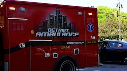 DETROIT - MAY 25: A Detroit Ambulance makes its way through downtown in Detroit, Michigan on May 25, 2018. (Photo By Raymond Boyd/Getty Images)