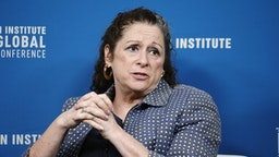 Abigail Disney, president and chief executive officer of Fork Films, speaks during the Milken Institute Global Conference in Beverly Hills, California, U.S., on Tuesday, April 30, 2019. The conference brings together leaders in business, government, technology, philanthropy, academia, and the media to discuss actionable and collaborative solutions to some of the most important questions of our time.