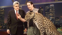 THE TONIGHT SHOW WITH JAY LENO -- 1953 -- Pictured: (l-r) during an interview with host Jay Leno on