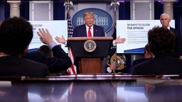 """U.S. President Donald Trump participates in the daily coronavirus task force briefing in the Brady Briefing room at the White House on March 31, 2020 in Washington, DC. The top government scientists battling the coronavirus estimated on Tuesday that the virus could kill between 100,000 and 240,000 Americans. Trump warned that there will be a """"Very, very painful two weeks"""" ahead as the nation continues to grapple with the outbreak of the COVID-19 virus. (Photo by Win McNamee/Getty Images)"""