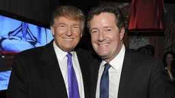 """Television Personality Donald Trump and journalist Piers Morgan attend the celebration of Perfumania and Kim Kardashian�s appearance on NBC�s """"The Apprentice"""" at the Provocateur at The Hotel Gansevoort on November 10, 2010 in New York, New York. (Photo by Mathew Imaging/WireImage)"""
