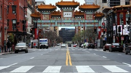 Streets and plazas are empty in the Chinatown neighborhood as people stay home and non-essential businesses are ordered closed due to the ongoing coronavirus pandemic March 27, 2020 in Washington, DC. The United States surpassed China and Italy as the country with the most coronavirus cases with more than 97,000 people confirmed and more than 1,000 people having died from COVID-19. (Photo by Chip Somodevilla/Getty Images)