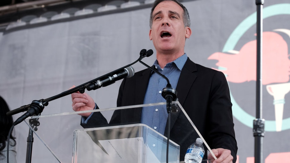 LOS ANGELES, CALIFORNIA - JANUARY 18: Los Angeles Mayor Eric Garcetti speaks at the 4th Annual Women's March LA: Women Rising at Pershing Square on January 18, 2020 in Los Angeles, California. (Photo by Sarah Morris/Getty Images)