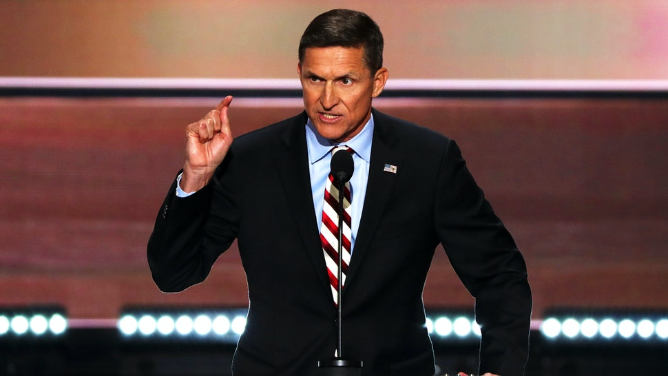CLEVELAND, OH - JULY 18: Retired Lt. Gen. Michael Flynn delivers a speech on the first day of the Republican National Convention on July 18, 2016 at the Quicken Loans Arena in Cleveland, Ohio. An estimated 50,000 people are expected in Cleveland, including hundreds of protesters and members of the media. The four-day Republican National Convention kicks off on July 18.