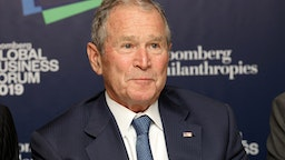 Former U.S. President George W. Bush listens speaking during the Bloomberg Global Business Forum in New York, U.S., on Wednesday, Sept. 25, 2019. The third annual Forum brings together important global leaders from the public and private sectors to address the threats from global warming to economic prosperity and examine the opportunities for solutions.