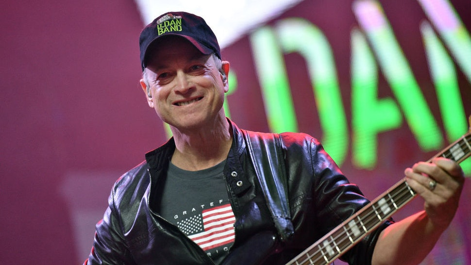 Actor/musician Gary Sinise of the Lt. Dan Band performs as part of a Salute to the Troops event at the Fremont Street Experience on November 9, 2019 in Las Vegas, Nevada. (Photo by David Becker/Getty Images)