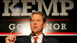 Republican gubernatorial candidate Brian Kemp attends the Election Night event at the Classic Center on November 6, 2018 in Athens, Georgia. Kemp is in a close race with Democrat Stacey Abrams.