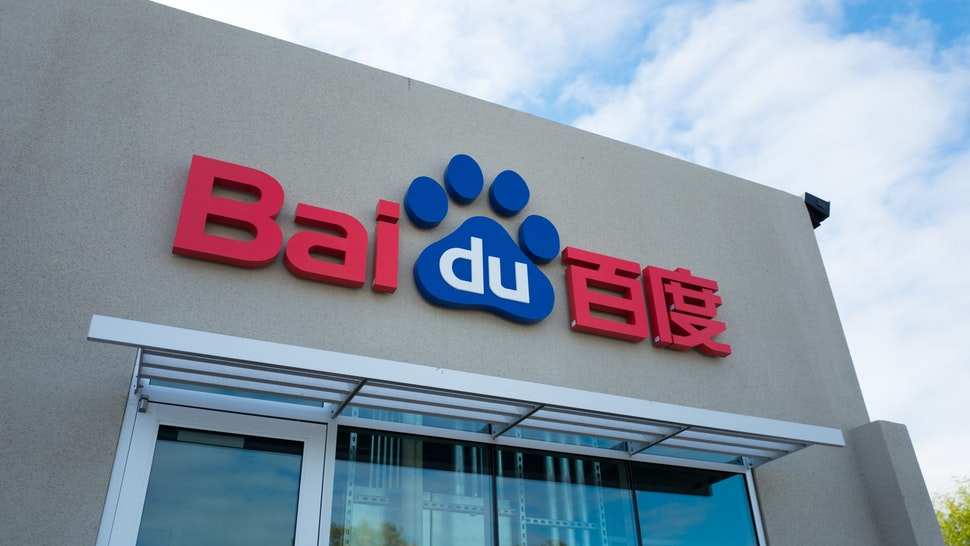 Logo on facade of the United States headquarters of Chinese technology company Baidu, among the largest Internet companies in the world, in the Silicon Valley town of Sunnyvale, California, October 28, 2018. (Photo by Smith Collection/Gado/Getty Images)