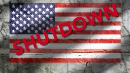 US Flag Texture Shutdown - stock photo