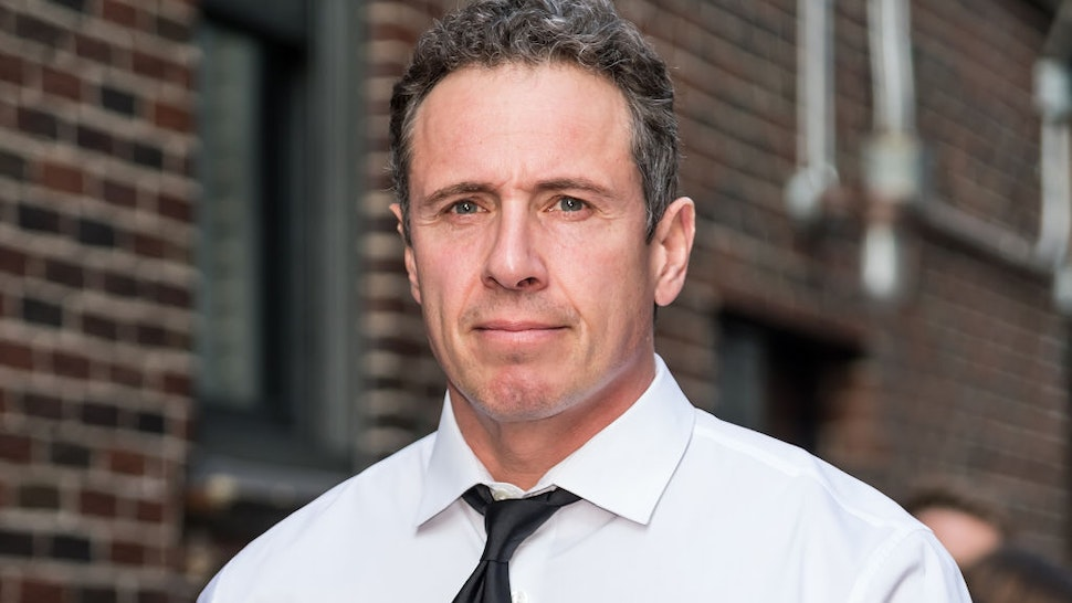 Television journalist Chris Cuomo is seen arriving at 'The Late Show With Stephen Colbert' at the Ed Sullivan Theater on May 2, 2019 in New York City.
