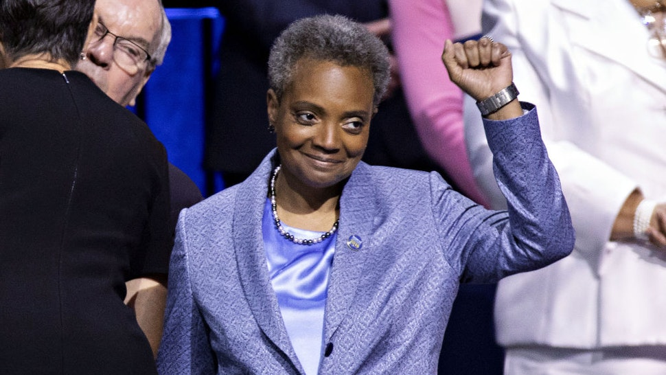 Lori Lightfoot, mayor of Chicago, gestures during an inauguration ceremony in Chicago, Illinois, U.S., on Monday, May 20, 2019.