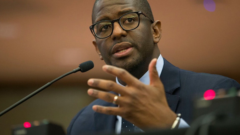 Andrew Gillum, Forward Florida Chair, speaks during The Elections Subcommittee field hearing on 'Voting Rights and Election Administration in Florida' at the Broward County Governmental Center on May 06, 2019 in Fort Lauderdale, Florida.