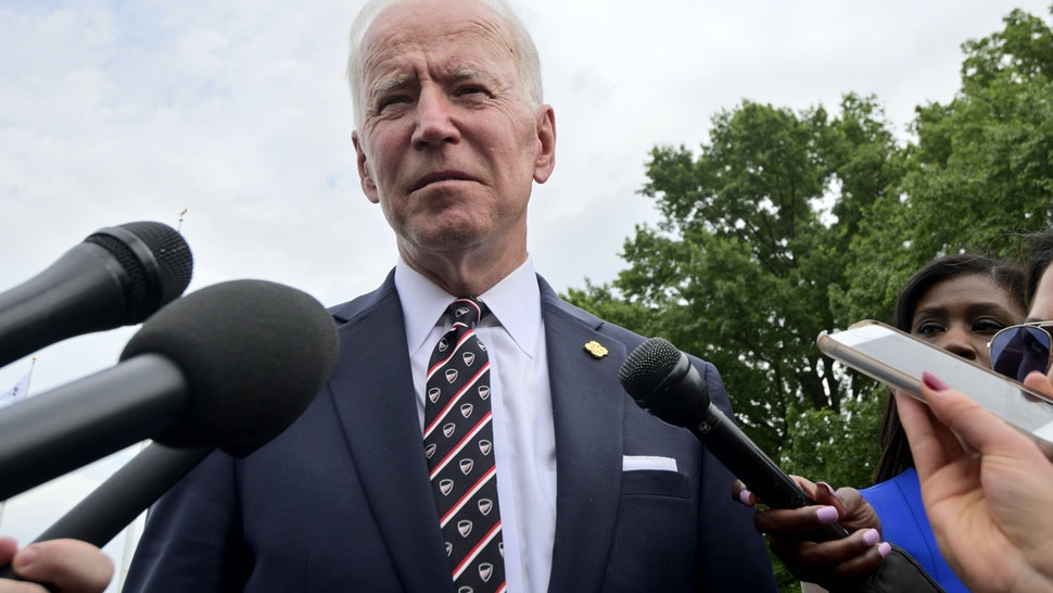 Former Vice President Joe Biden describes John McCain as a war hero when speaking at a press gaggle after attending the annual Delaware Memorial Day ceremony, in New Castle, DE on May 30, 2019. (Photo by Bastiaan Slabbers/NurPhoto via Getty Images)