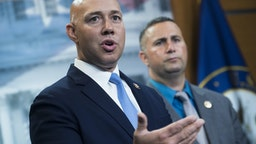 UNITED STATES - SEPTEMBER 20: Reps. Brian Mast, R-Fla., and Darren Soto, D-Fla., conduct a news conference in the Capitol Visitor Center on the eviction of Congressional offices from Veterans Affairs Department facilities on Friday, September 20, 2019. (Photo By Tom Williams/CQ-Roll Call, Inc via Getty Images)