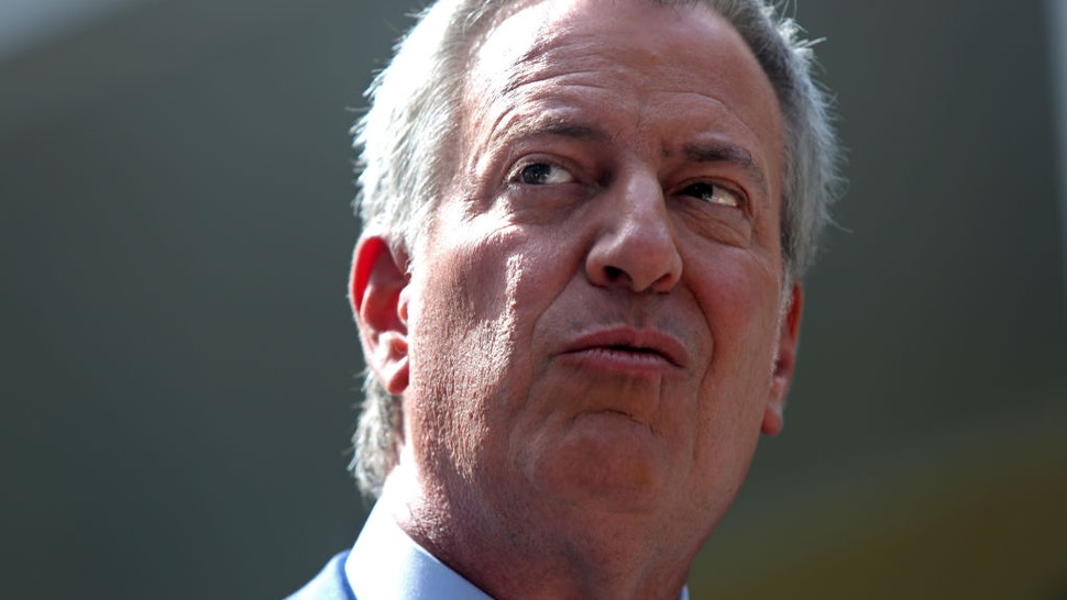 New York City Mayor Bill de Blasio speaks during a press conference held in front of Gracie Mansion on September 20, 2019 in New York City.