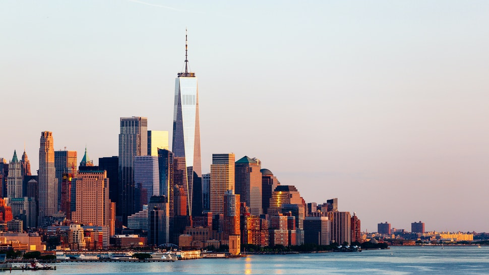 New York skyline with Manhattan Downtown financial district and Hudson River, USA - stock photo
