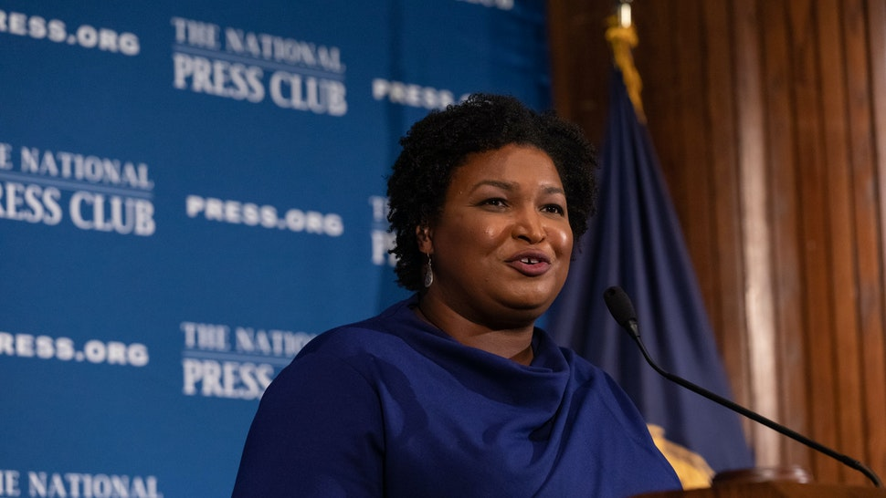 Stacey Abrams, former Georgia House Democratic Leader, speaks to attendees at the National Press Club Headliners Luncheon in Washington, D.C., on Friday, November 15, 2019.(Photo by Cheriss May/NurPhoto via Getty Images)