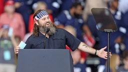 "T.V. personality and businessman, Willie Robertson, speaks during U.S. President Donald Trump's ""Keep America Great"" rally at the Monroe Civic Center on November 06, 2019 in Monroe, Louisiana."