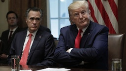 Senator Mitt Romney, a Republican from Utah, and U.S. President Donald Trump, right, participate in a listening session on youth vaping and electronic cigarettes in the Cabinet Room of the White House in Washington, D.C., U.S., on Friday, Nov. 22, 2019.