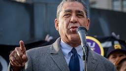 Congressional Representative Adriano Espaillat speaking at a protest in support of Ravi Ragbir.