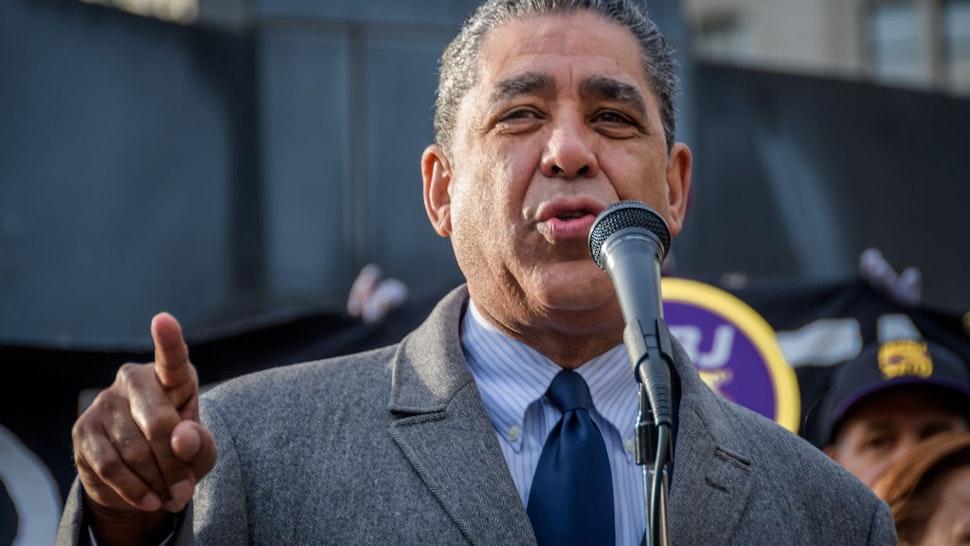 Congressional Representative Adriano Espaillat speaking at a protest in support of Ravi Ragbir.